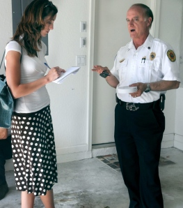 Here I am interviewing a Palm Beach County Fire-Rescue official.